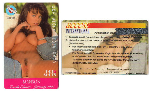 Hot Shots - Phone Card - MANSON- 5 Units - 1994