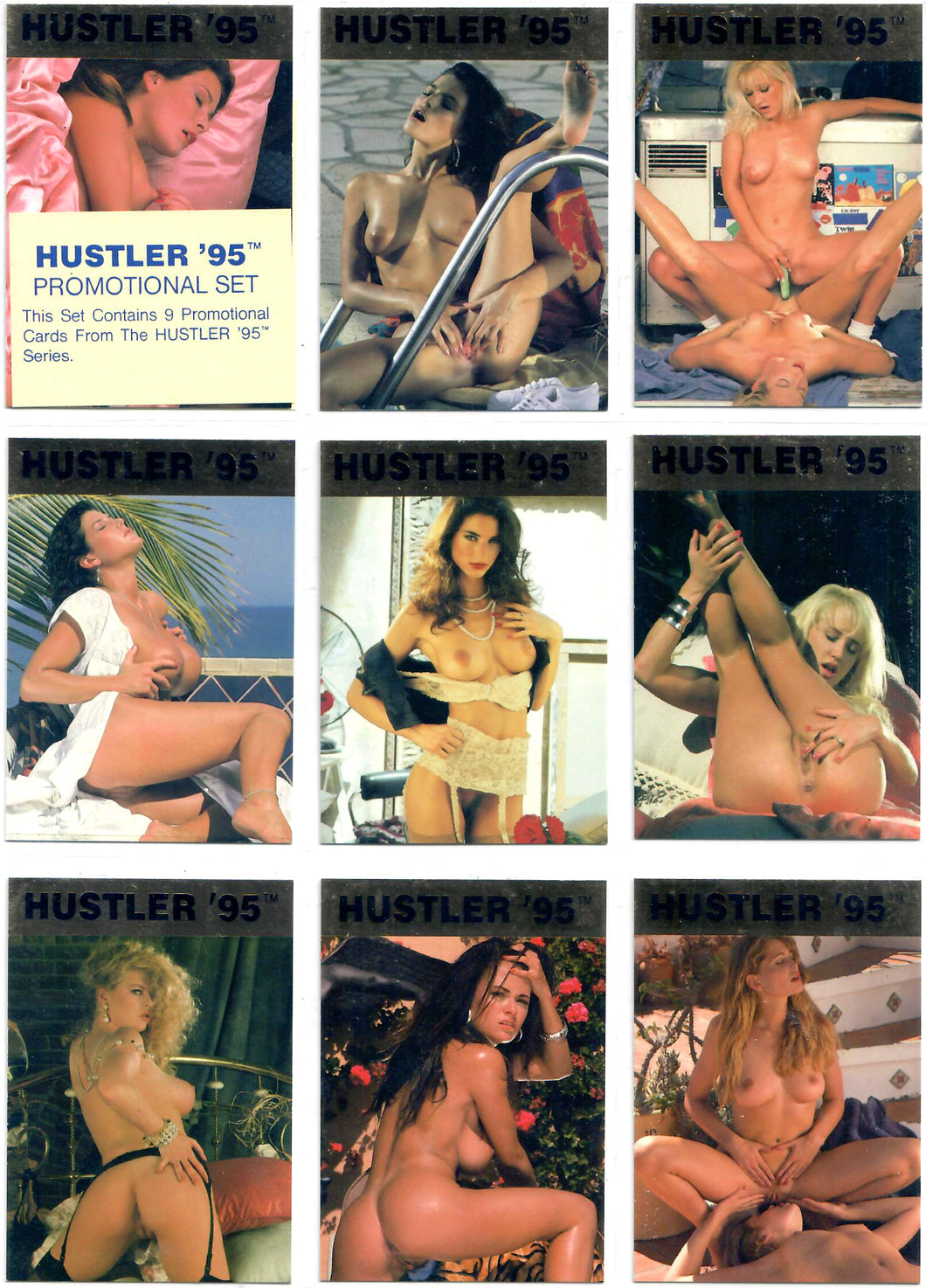 HUSTLER - '95 - Promotional Set - Complete 9 Card Gold Foil Promo Card Set P1-P9