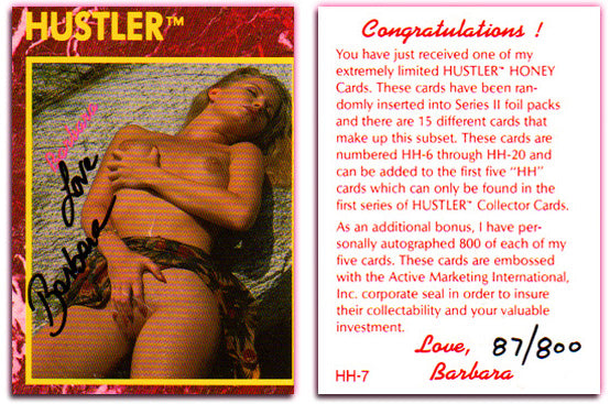 HUSTLER - HONEY Card HH-7- BARBARA - (Series I) - Autographed #87/800
