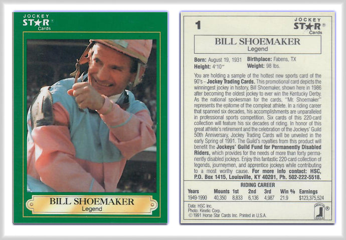 Jockey Stars - Bill Shoemaker- Promo Card 1 - Horse Racing
