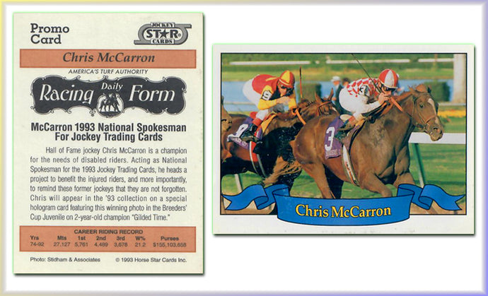 Jockey Stars - Chris McCarron - Racing Daily Form - Promo Card - Horse Racing