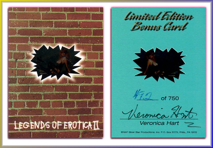 Silver Star - Legends of Erotica II - Veronica Hart - Limited Edition Bonus Transparency Card - Autographed / Hand Numbered #92/750