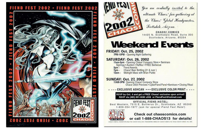 Lady Death - Chaos! - Fiend Fest 2002 - Jumbo 4x5 - Promo Card Panel - Events Schedule