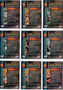 Lady Death - Dark Alliance  -  Complete 72 Card Base Set - In Pages