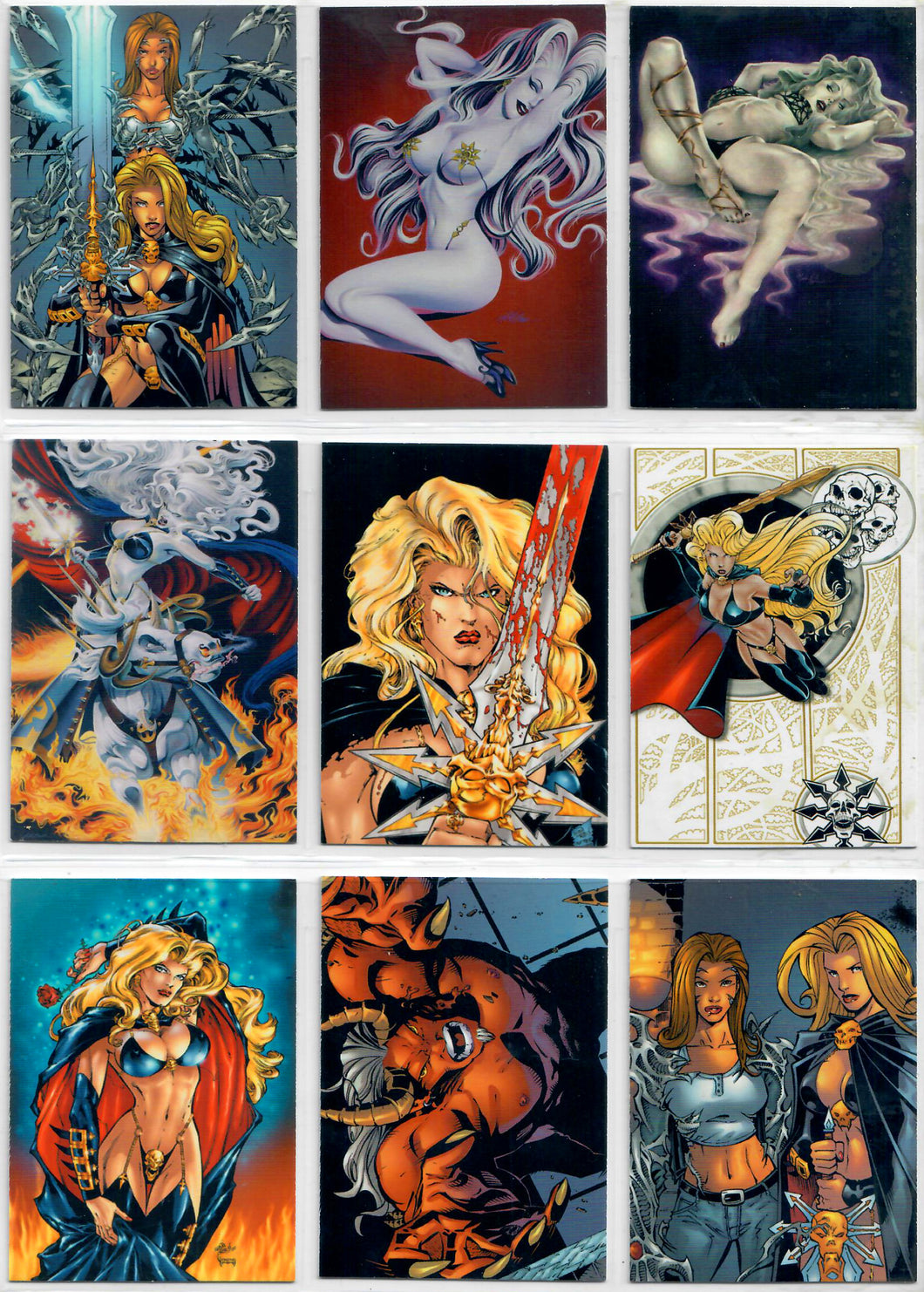 Lady Death - Lethal Ladies / Medieval WitchBlade -  Complete 72 Card Base Set - In Pages
