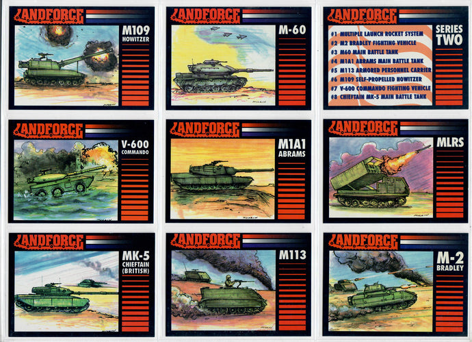 Land Force - Series 2 - Tanks - Complete 8 Card Set w/Checklist Card