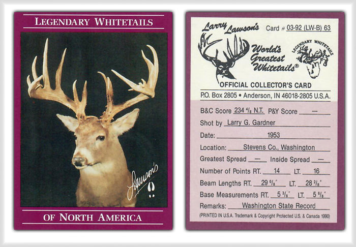 World's Greatest Whitetails - Larry Lawson's - Deer Heads/Horns - Maroon Border 24 Card Set