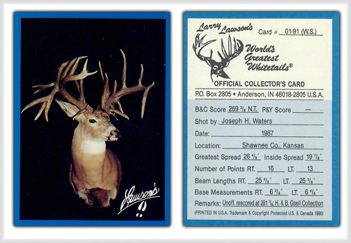 World's Greatest Whitetails - Larry Lawson's - Deer Heads/Horns - Blue Border 24 Card Set