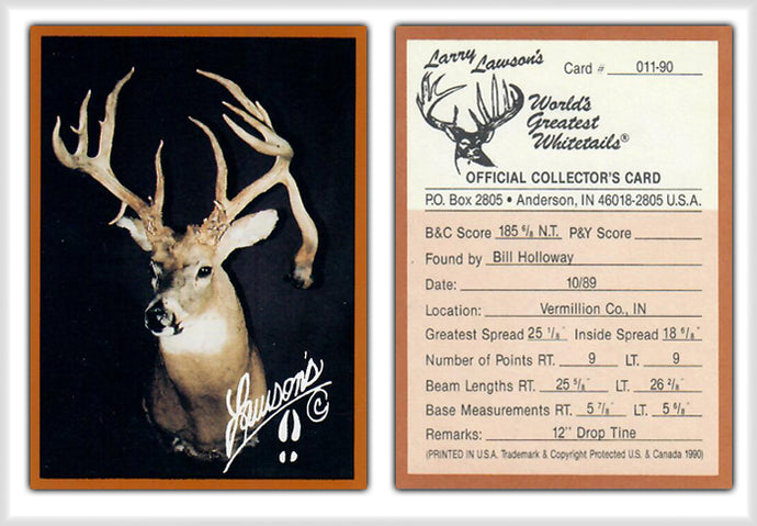 World's Greatest Whitetails - Larry Lawson's - Deer Heads/Horns - Brown Border 14 Card Set