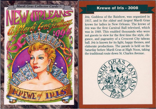 Mardi Gras - Collector Cards - 1994 - Card 3008 - Krewe of Iris