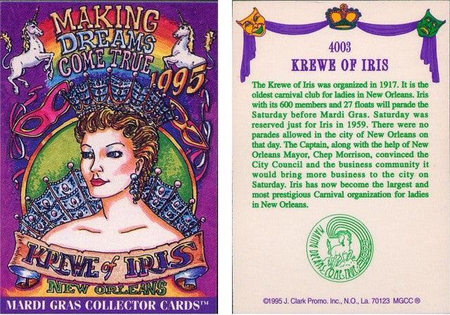 Mardi Gras - Collector Cards - 1995 - Card 4003 - Krewe of Iris