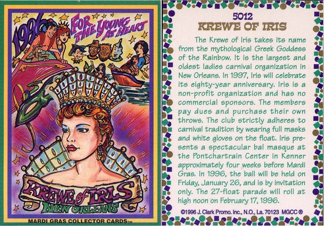 Mardi Gras - Collector Cards - 1996 - Card 5012- Krewe of Iris