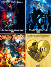 "Load image into Gallery viewer, Marvel - 4 Card Jumbo 4.5"" x 5.5"" Promo Card Lot - War of Rings, Ultimatum, Dark Avengers #1, Black Panther & Storm"
