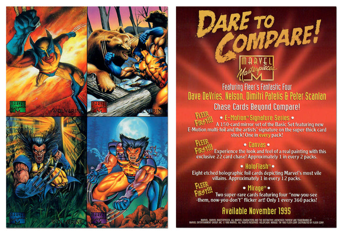 Marvel Masterpieces - Jumbo 5x7 - 4 Card Gold Foil Uncut Promo Card Panel - Wolverine - Dare to Compare!