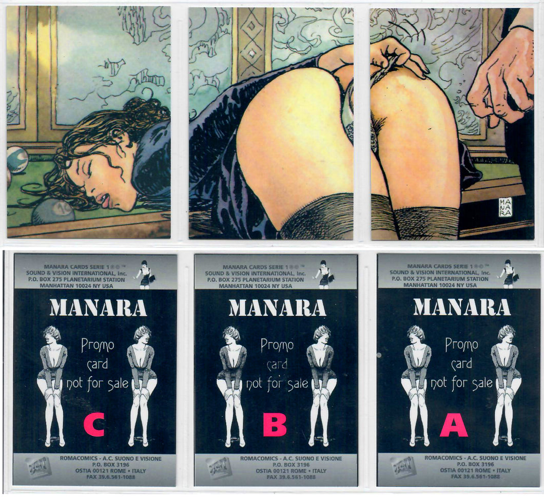 Milo Manara - The Erotic Art of - Complete 3 Card Promo Set A-B-C - Sound & Vision