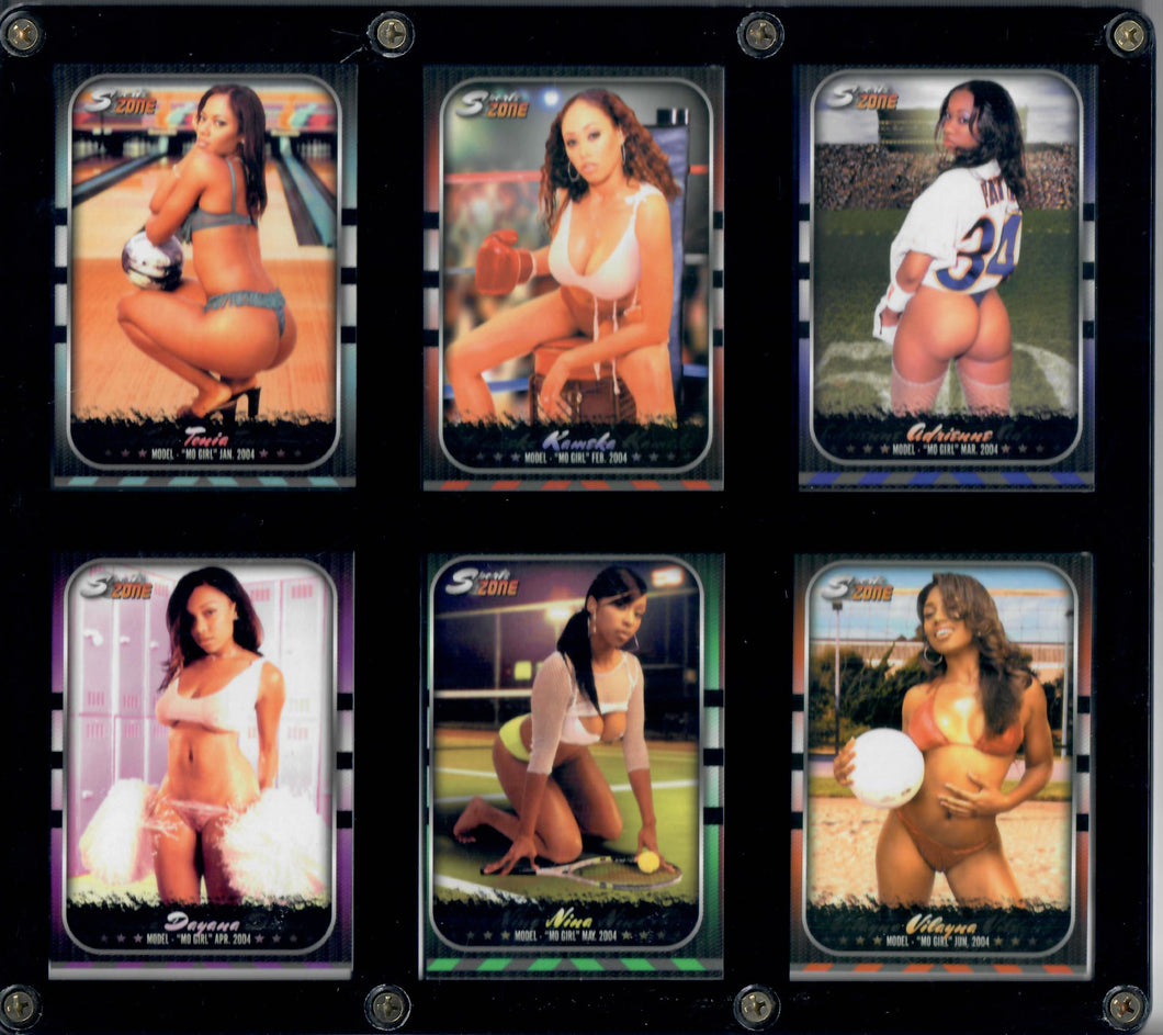 Mo Girls - 1994 - Black Model Pinup Girls - 6 Card Set in Acrylic Case (Wall Hangable)