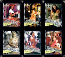 Load image into Gallery viewer, Mo Girls - Black Model Pinup Girls - 2005 Jul-Dec - 6 Card Set in Acrylic Case (Wall Hangable)