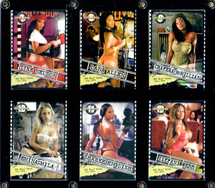 Mo Girls - Black Model Pinup Girls - 2005 Jul-Dec - 6 Card Set in Acrylic Case (Wall Hangable)