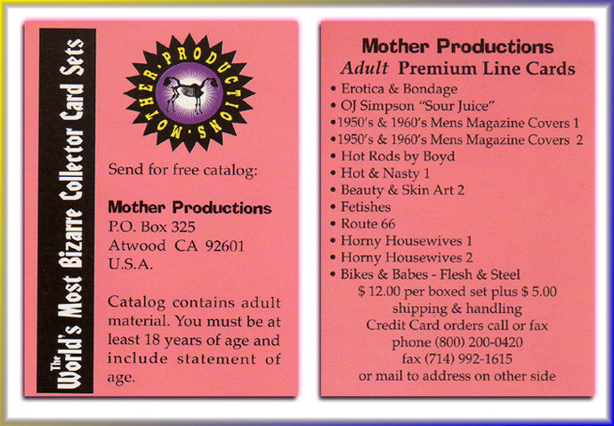 Mother Productions - The World's Most Bizarre Trading Cards - Adult Premium Line - Promo Card