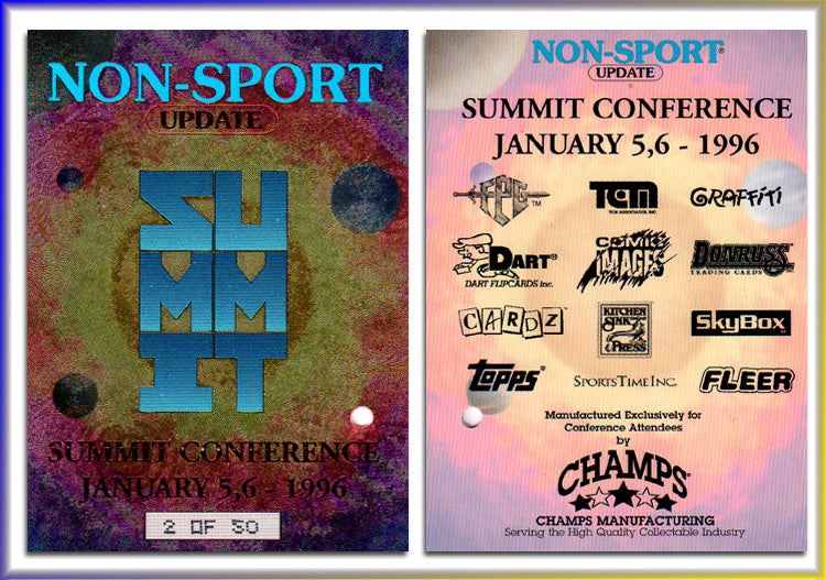 Non-Sport Update NSU 1996 Summit Conference Refractor Promo Card with hole punched