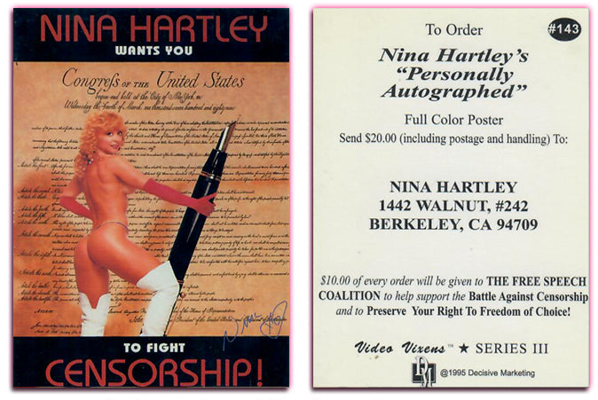 Nina Hartley - WANTS YOU To Fight Censorship - Poster Promo Card - #143 - Decisive Marketing/Video Vixens Series III