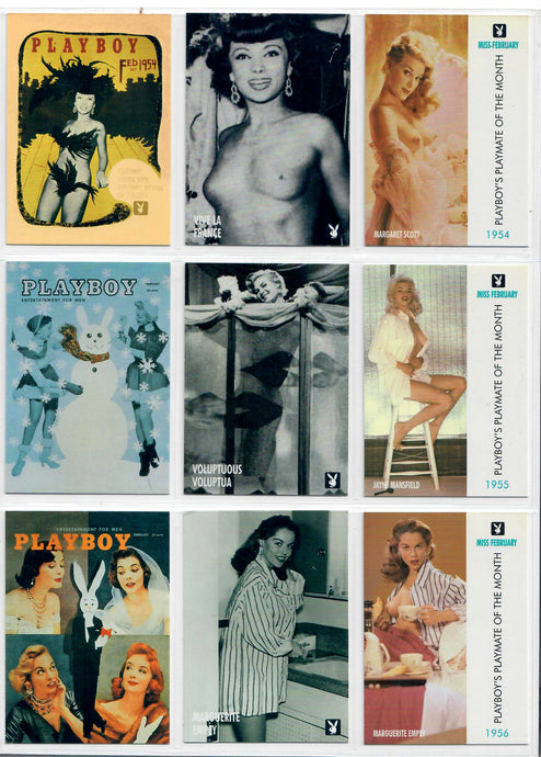 PLAYBOY - CENTERFOLDS - FEBRUARY Collection - Complete Base Set + Previews Set + Checklists