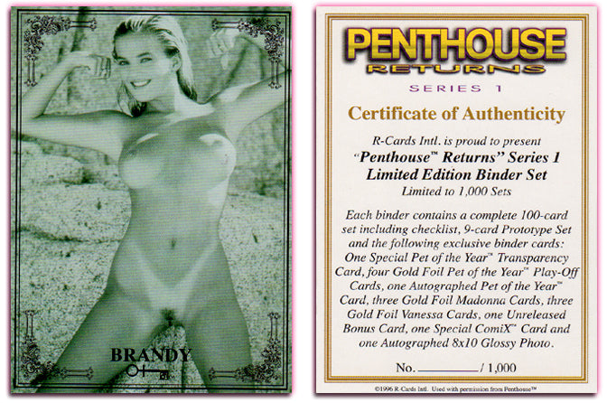 Penthouse - Returns - Series 1 - BRANDY LEDFORD ~ COA Binder Card 1 of 1