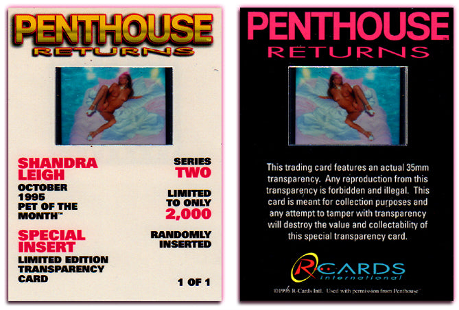 Penthouse - Returns - Series 2 - Shandra Leigh - Limited Edition Special Insert Transparency Card - 1 of 1