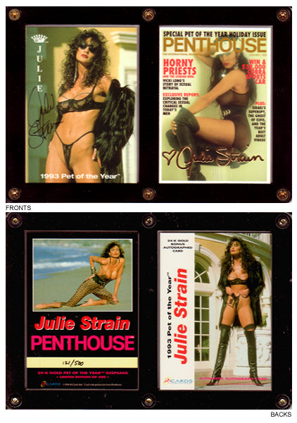 PENTHOUSE - Julie Strain - Encased 2 Card 24kt Embossed Gold Autographed Card Set #190/500