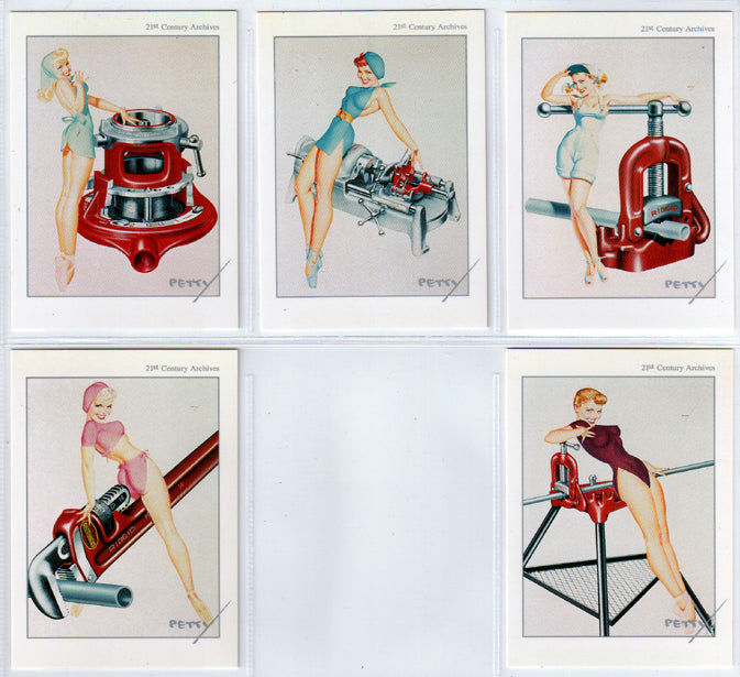 The Petty Girl - RIGID TOOLS - 5 Card Chase Set - George Petty Classic Pinups - 21st Century Archives