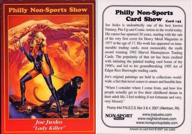 Philly Non-Sport Card Show - Red Border Promo Card #44 - Joe Jusko 'Lady Killer'