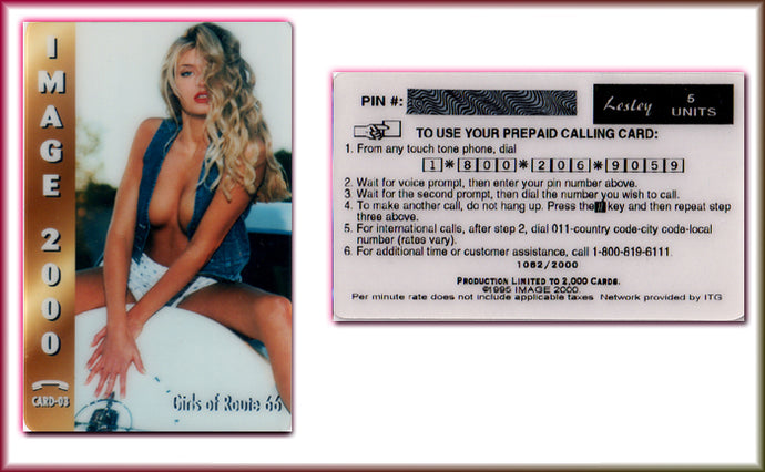 Image 2000 - Girls of Route 66 - Limited Edition Phone Card - Lesley 5 Units