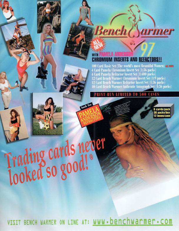 Sell Sheet - BENCHWARMER -  With Pamela Anderson  - Trading Cards Never Looked So Good - Counter Slick