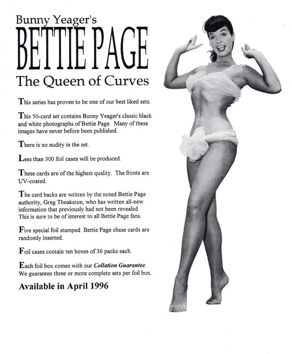 Sell Sheet - Betty Page The Queen of Curves  -  Bunny Yeager's - 21st Century Archives - Counter Slick