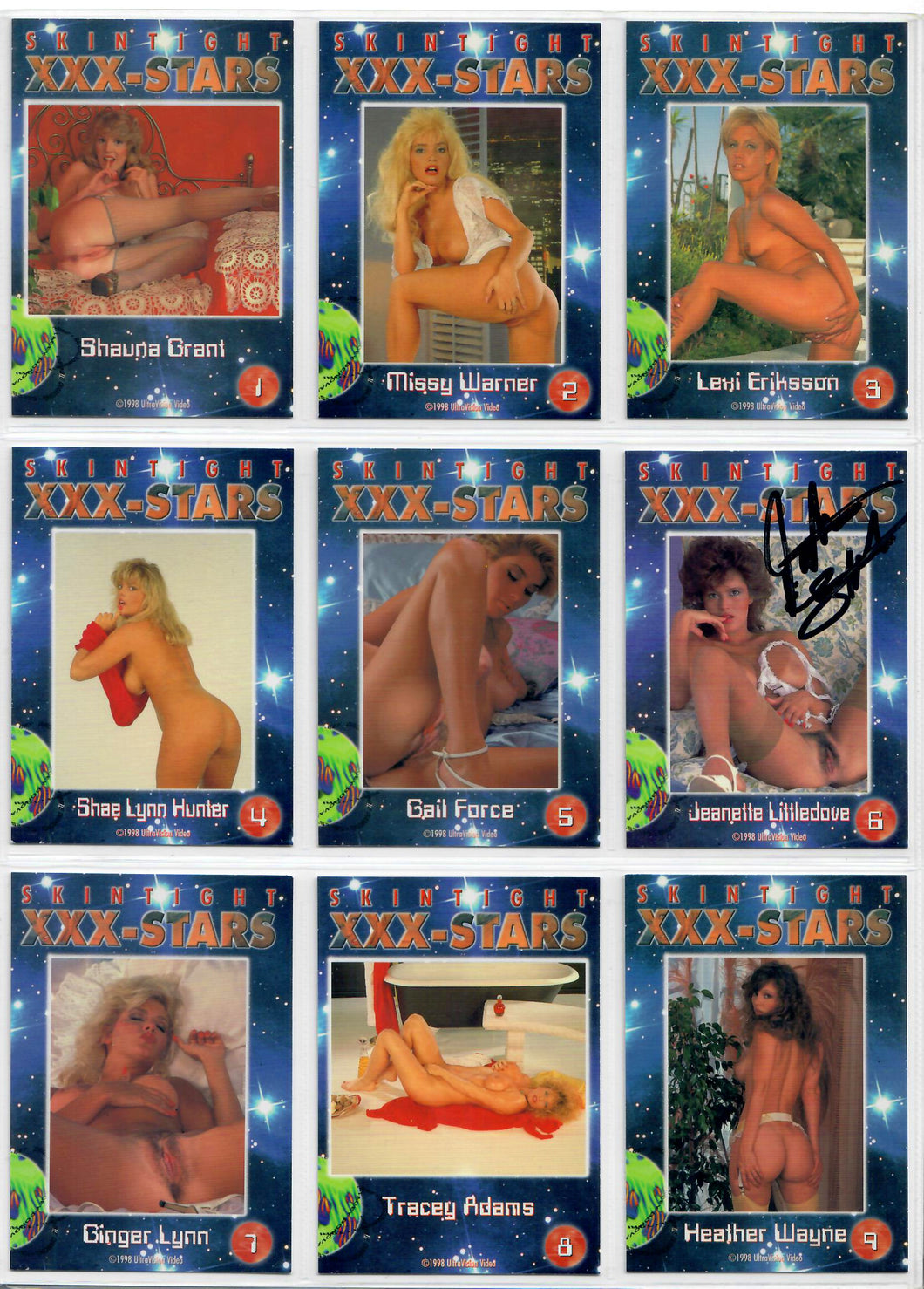 Skintight - XXX-Stars - Complete 18 Card Set - Ultravision - Jeanette Littledove Autographed Card 6