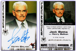 Spiderman - Movie - Jack Betts as Henry Balkan - Authentic Autograph Card