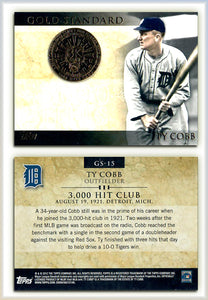 TOPPS - 2012 Gold Standard - GS-15 - TY COBB - 3,000 Hit Club - Gold Foil Seal