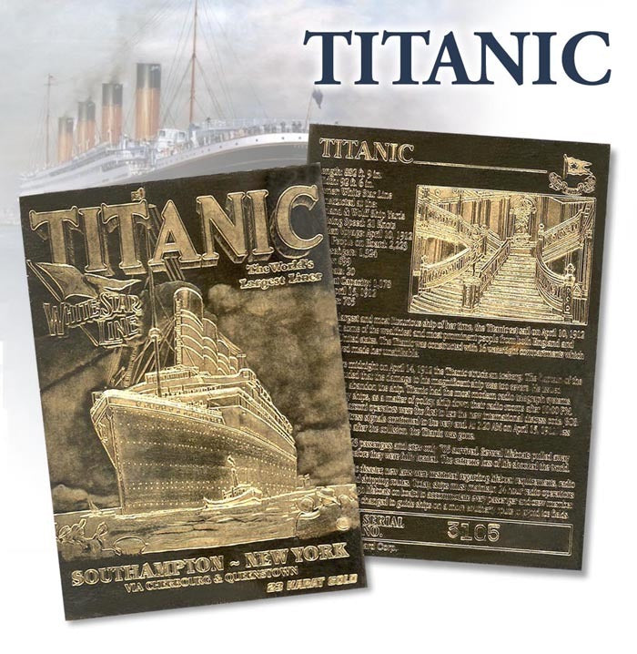 Titanic - Limited Edition 23kt Gold Card - Southampton New York