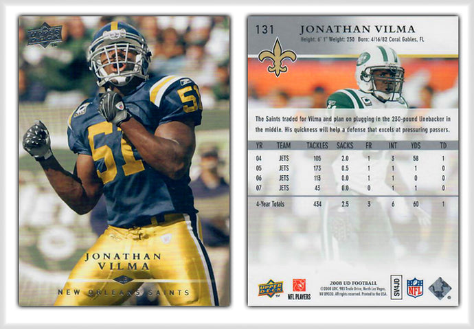 UpperDeck 2008 Football - Card 131 - Jonathan Vilma