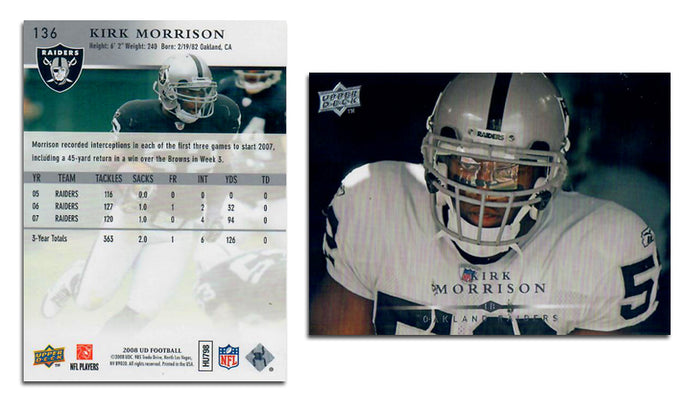 UpperDeck 2008 Football - Card 136 - Kirk Morrison