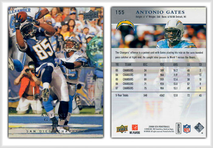 UpperDeck 2008 Football - Card 155 - Antonio Gates