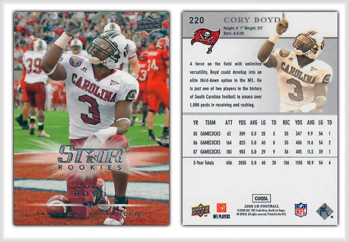 UpperDeck 2008 Football - Card 220 - STAR ROOKIE- CoryBoyd