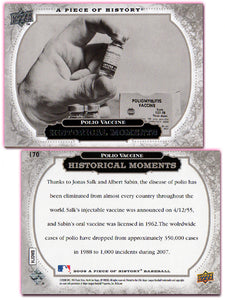 UpperDeck - A Piece of History Baseball - Card 170 - Polio Vaccine