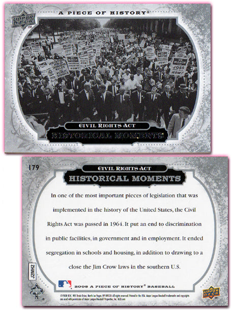 UpperDeck - A Piece of History Baseball - Card 179 - Civil Rights Act
