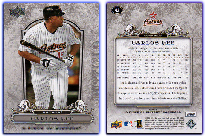 UpperDeck - A Piece of History Baseball - Card 42 Silver Foil - Astros - Carlos Lee