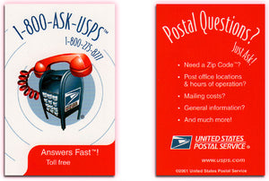 USPS - 1-800-ASK-USPS - Promo Card 2001 - Unnumbered