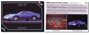 Vette Set - 1986 Corvette Sport Coupe - Prototype Card 70