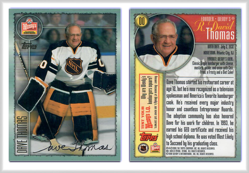 Wendys Food - Dave Thomas - Hockey - Gold Foil / Signature Promo Card