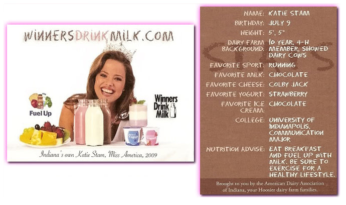 Winners Drink Milk - Katie Stam - Miss America 2009 - Promo Card