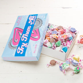 Try 'em All Taffy Candy Box Taffy Box Zeno\'s World\'s Most Famous Taffy